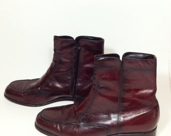 Men's Florsheim Leather Boots Brown Red Reddish With Zipper