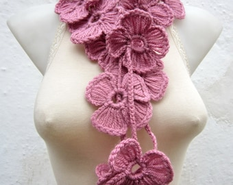 Hand crochet Lariat Scarf   Pink  Flower Lariat Scarf Long Necklace Holiday Accessories mothers day