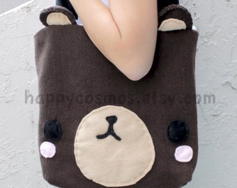 Brown Bear Bag - Schoolbag, Backpack, Bookbag, Animal Tote Bag, Reusable Bag, Women's Tote,  Christmas Gift, Halloween Trick or Treat