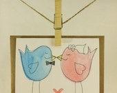 Handmade Wedding Bird Card - Marriage, Tying the Knot