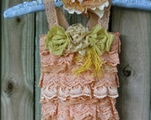 Romper and matching headband, custom, flower girl dress, infant, baby dress, birthday suit,vintage lace, hand dyed, vintage wedding, boho