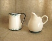 Vintage Creamer in Green and White / French Country Creamer in Green and White