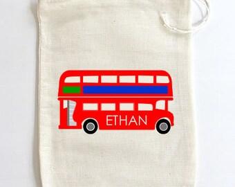 Double-Decker Bus Drawstring Favor Bags