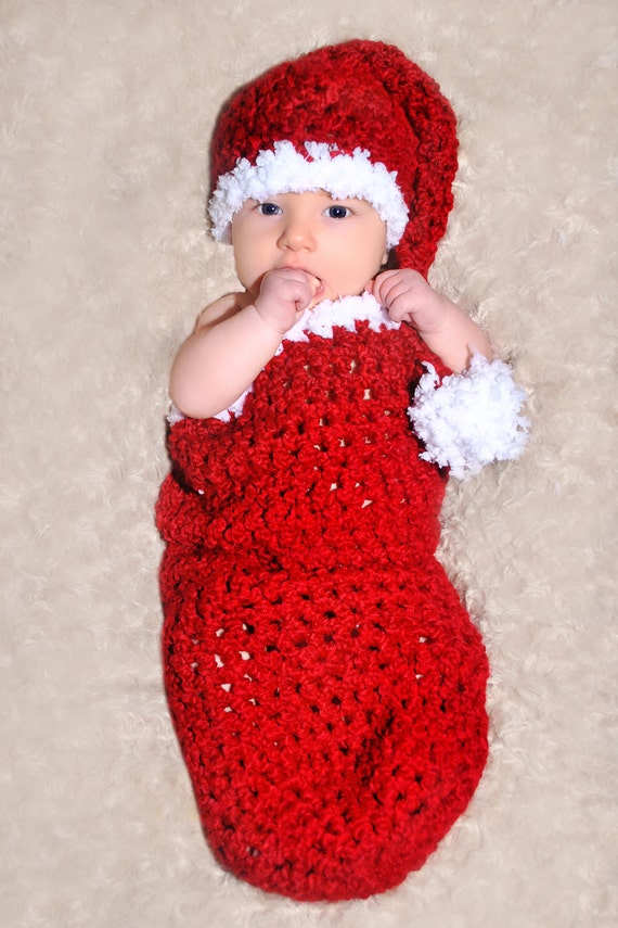 Quick Easy Crochet Baby Hat Pattern : CROCHET PATTERN Santa Baby Cocoon and Matching Sleeper Hat