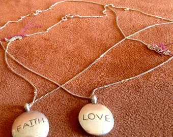 Faith or Love Reversible Sterling Silver Necklace with Large Pendant