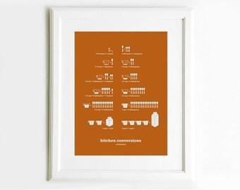 Kitchen Conversions Art Poster, Pumpkin Orange, Kitchen Art, Kitchen Posters, Kitchen Measurements, 13x19