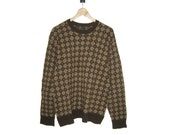 Vintage Retro Style Brown Wool Sweater Mens L Large Blend
