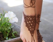 Bohemian barefoot sandals, Beach Sandals, Hippie shoes, Bohemian Foot Jewelry, Wire jewelry, Belly dance, Yoga, Anklet