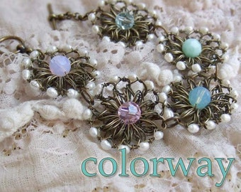 Wire Crochet Bracelet - Crochet Wire Swarovski Crystal Bracelet - White Freshwater Pearl Bracelet - Romantic - Rustic Bracelet - Whimsical