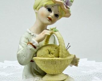 Porcelain Pincushion Vintage Ardalt Verithin Porcelain Hand Painted Figurine Pin Cushion