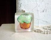 Cupcake Necklace Glass Tile Pendant Necklace, Wearable Watercolor Art