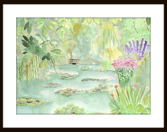 Landscape Watercolor Painting- Monet's Garden at Giverny- France Original Art Matted to 11x14