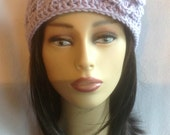 Lavender Crochet Headband Ear warmer Hat Chunky Purple Violet