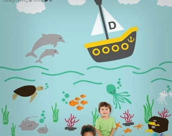 Children Wall Decals - Personalized Baby Nursery Wall Stickers - Underwater - Large - 0107