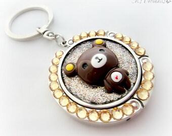 Kawaii bear rhinestone folding purse hook with keychain, cute Harajuku style gift