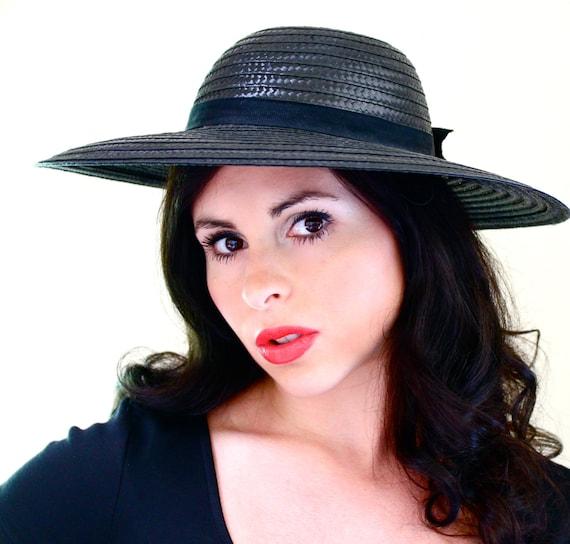 SALE - Vintage Black Wide Brim Hat -  1960s Straw Hat with Bow Summer Fashion Accessory / Round & Dark