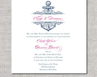Printable Nautical Wedding Invitation, Navy Blue and Pink Anchor, Floral Wedding Invitation, Navy, Hot Pink, Printable, Print at home, DIY