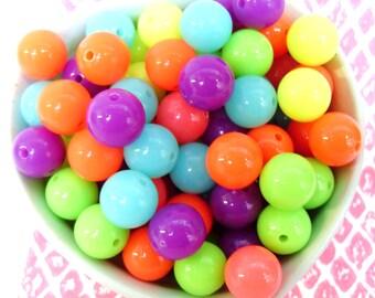 25x 12mm Neon Resin Multi color Globe beads .. Fluoro Fun