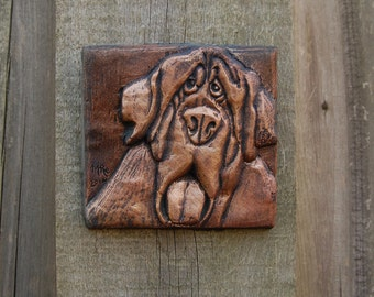 Hound Dog Wall Plaque Sculpture, Dog Lover Gift, Pet Portrait Stone Art
