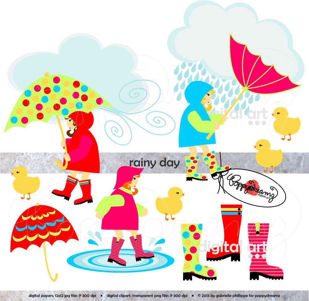 Rainy Day Clip Art: Rainy Day: Clip Art Pack 300 Dpi Transparent Png Card Making