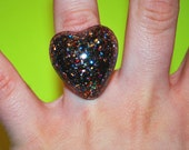 60% OFF - Dark Multicolored Glitter Heart Ring