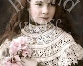 Celeste-Little Girl-French Postcard-Digital Image Download