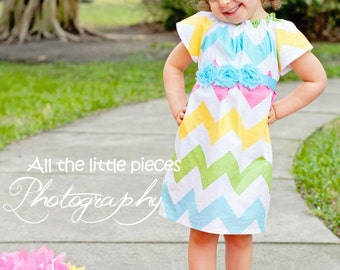 Size 9 months - Ready to Ship Spring Chevron Dress - Baby Girls Dress - Baby Girl Dresses - Spring Baby Dresses - Baby Gift - 1st Birthday