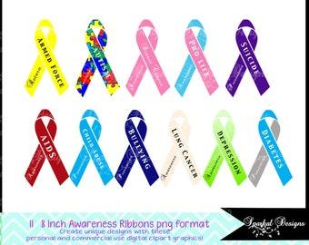 Cancer Ribbon Clip Art Cancer Awareness Ribbon Instant Download Pink Cancer Aids Ribbon, Pro Live Ribbon Bullying awareness ribbon
