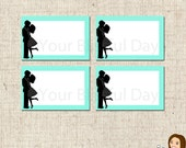PRINTABLE Kissing Couple Bridal Shower Label Tents (Color of your choice) #807
