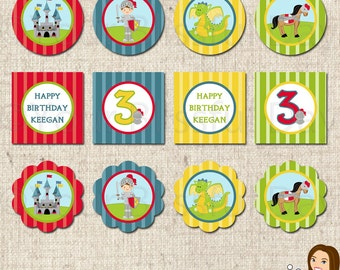 PRINTABLE Personalized Knight Party Circles #544