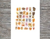 Nursery room decor  Sweet connections Featured in West Elm giclee print watercolor painting A4 orange pink Brown