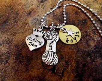 Knitters Jewelry, Knitters Necklace, Knitting Diva Charm Necklace, Personalized Jewelry, Hand Stamped Jewelry