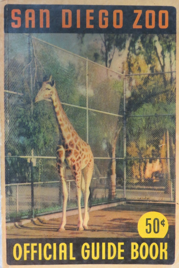 SALE San Diego Zoo Official Guide Book, 1947 - Exotic Animals Illustrated with Numerous Black & White Photos, Plus a Fold-out Color Map