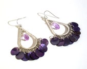 Chandelier Earrings, Shell Coins & Swarovski Crystal Dangle Hoop Earrings - Also Available in Other Colors