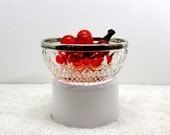 Mid Century Cut Glass Chrystal Bowl with Silver Rim