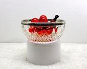 Mid Century Cut Glass Chrystal Bowl with Silver Rim