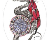 celtic dragon original art print