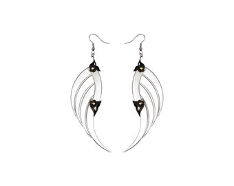 AKASHA / Large Silver Blade Wings Earrings / Free Shipping