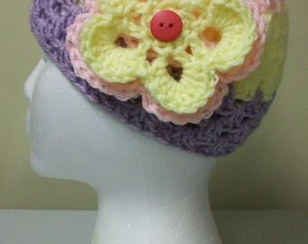 Girls Pastel Flower Beanie Light Pink Lilac Soft Yellow Openwork Hat