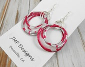 Stacked Hoop Circle Earrings. DOUBLE-sided.  Embossed. Recycled Soda Can Art. TaB