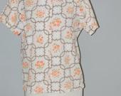 60s Blouse, Mod, Cotton, Novelty Print, Shirt, Top, Short Sleeves, Mid Century, Size L