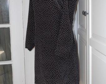 70s Dress, Black & White, Polka Dot, Shift, Secretary, Disco, Leslie Fay, Size Large