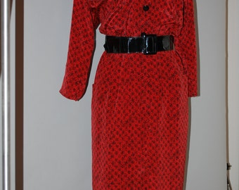 VINTAGE 70s Novelty Print Dress, Orange/Red Button Front Dress, Secretary - L