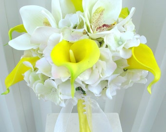 Wedding bouquet Yellow real touch calla lily white orchid bouquet