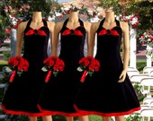 Black and Red Rockabilly Bridesmaid Dress