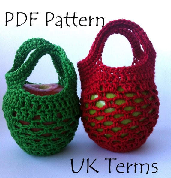 Crochet Terms : UK Terms Mini Crochet Gift Bag Apple Cozy PDF by Spincushions