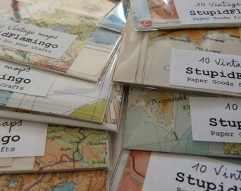 10 Vintage MAP Scraps from Assorted Atlas Pages - MAPS for Altered Art and Collages