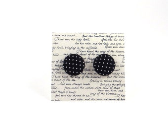 Black and White Polka Dot Fabric Button Stud Earrings
