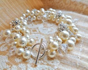 Layla Bracelet: Swarovski Pearls Crystals Fireballs, Cluster Bridal Bracelet
