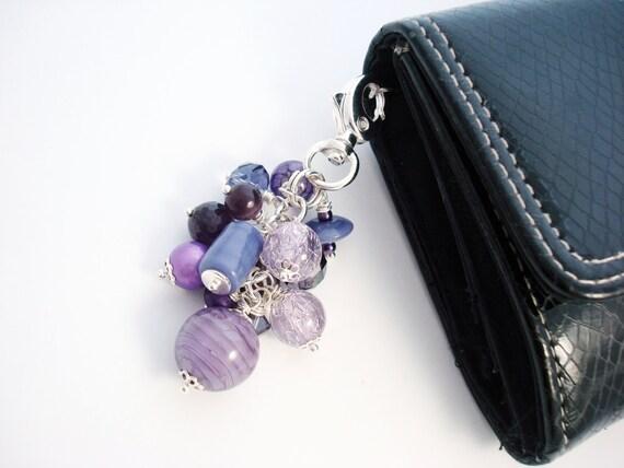 Purse Charm, Zipper Pull, Purple Beaded Purse Charm, Violet Purse Charm, Beaded Purse Charm, Free Shipping